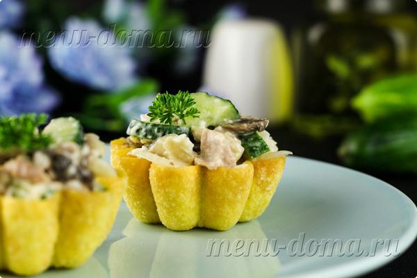 Рецепт тарталеток с курицей и жареными грибами